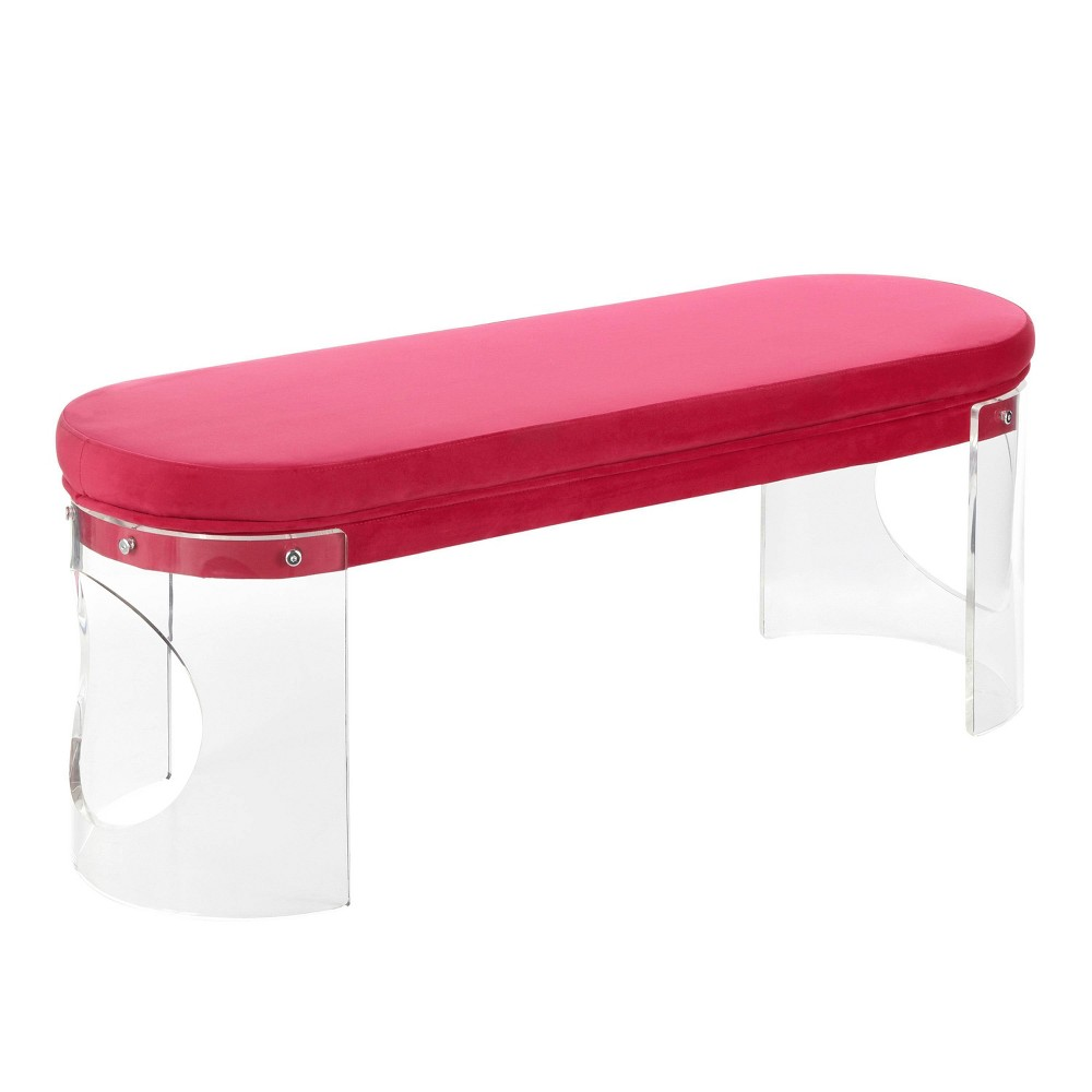 Clarity Contemporary Glam Bench Clear/Pink Velvet - LumiSource