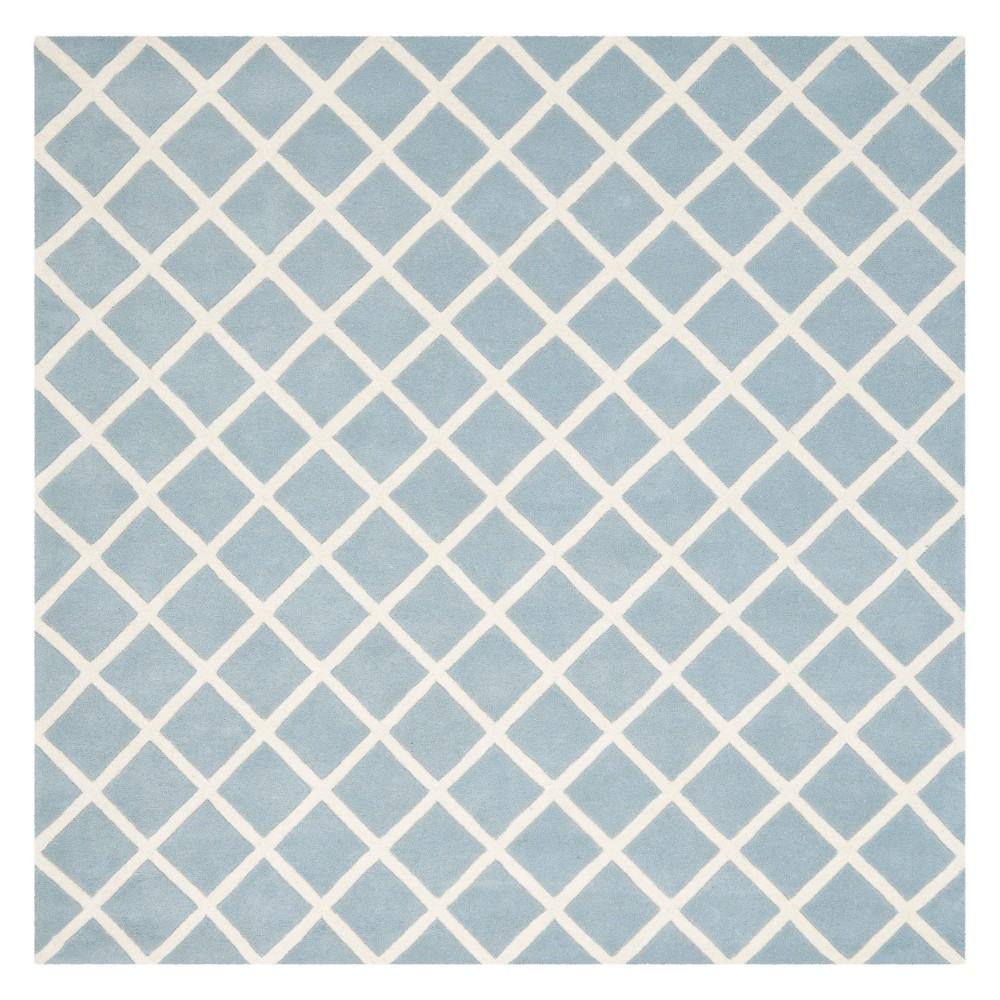 7'X7' Geometric Tufted Square Area Rug Blue/Ivory - Safavieh