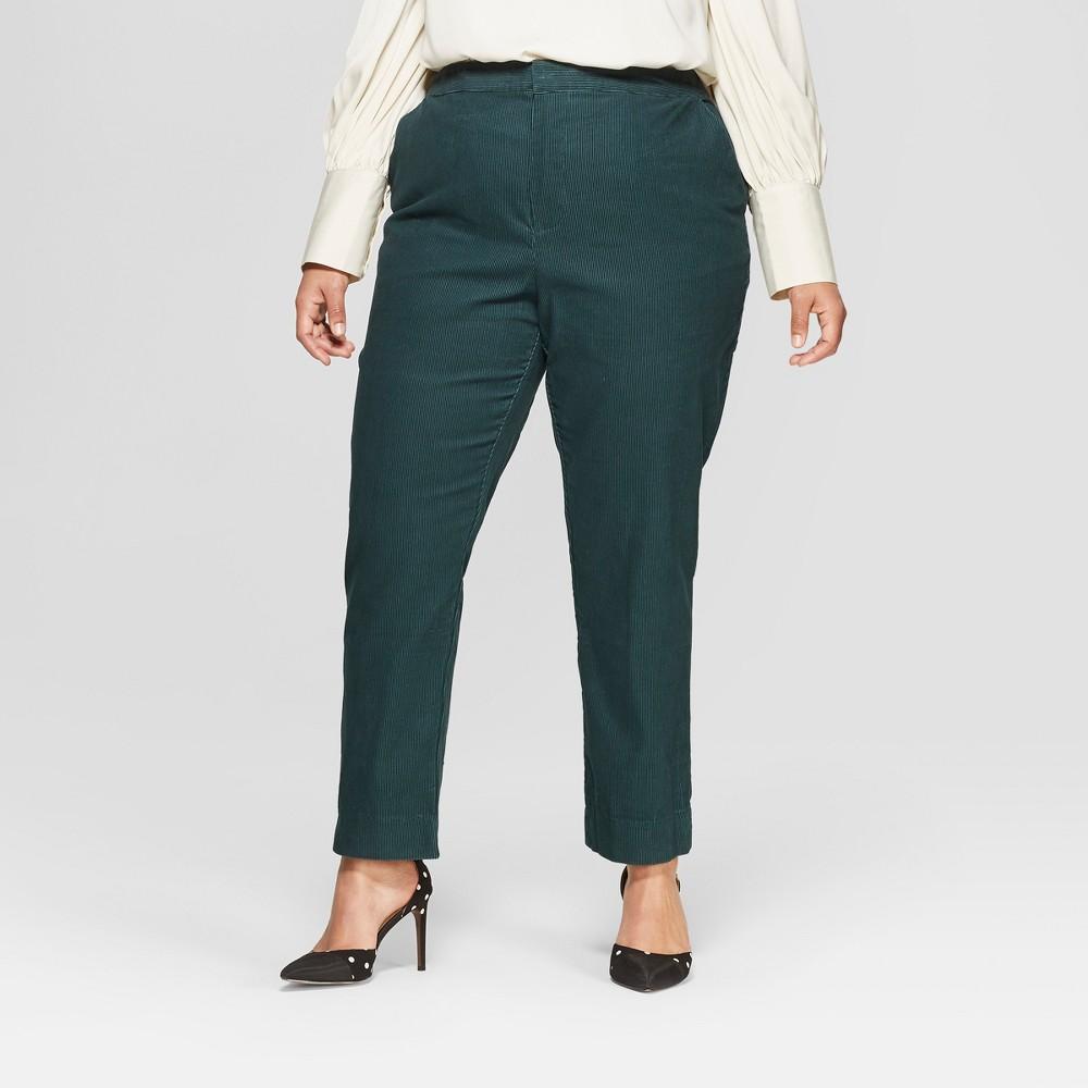 Women's Plus Size Corduroy Jogger Crop Pants - Who What Wear Pine 14W, Green