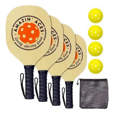 Amazin' Aces Wood Pickleball Set with 4 Wooden Padded Paddles, 4 Yellow Balls, and Carry Bag Great for Schools, Community Centers, and Athletic Clubs
