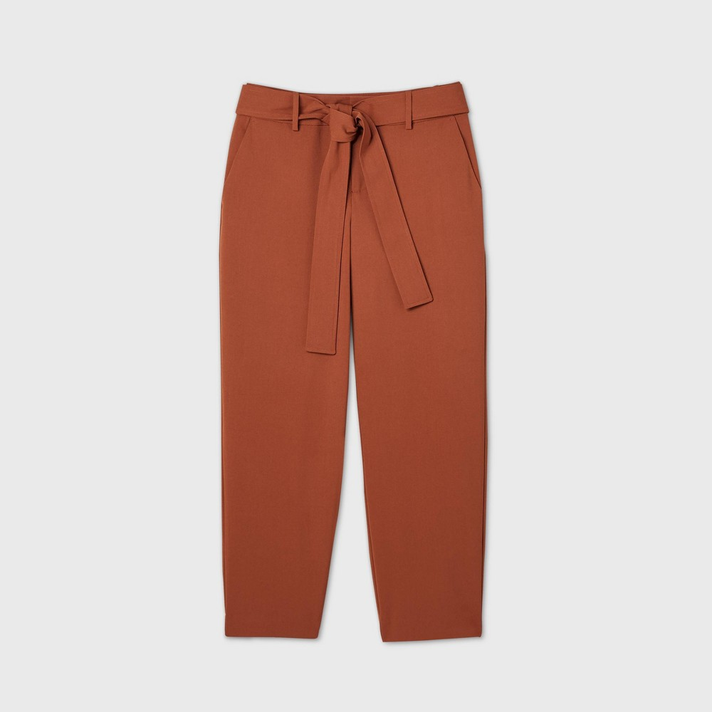Women 39 S High Rise Tie Waist Straight Pants A New Day 8482 Rust 6