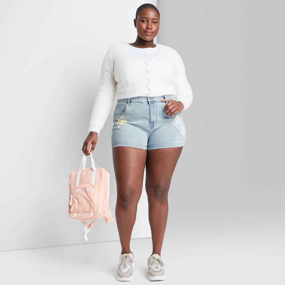Women 39 S Plus Size High Rise Patchwork Mom Jean Shorts Wild Fable 8482 Light Blue 22w