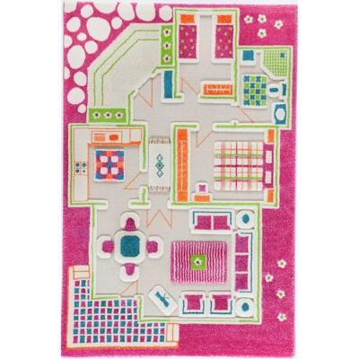 IVI World 3D Play Carpet 59 x 39-inch Educational Pink Playhouse Soft Floor Rug Mat for Bedroom, Kids Den, or Playroom, Medium