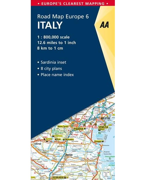 AA Road Map Europe Italy -  (AA Road Map Europe) (Paperback) - image 1 of 1