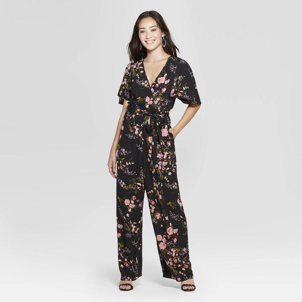 Women's Floral Print Short Sleeve Wrap Jumpsuit - Xhilaration Black XS
