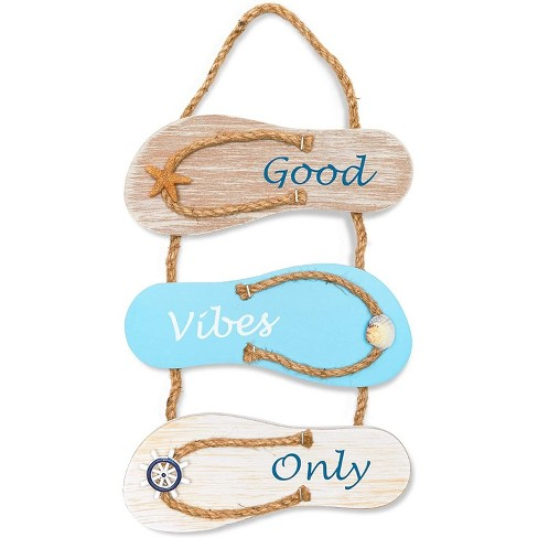 Juvale Wood Flip Flop Slippers Nautical Beach Hanging Wall Sign Home Decor Good Vibes Only 9 X16 Target