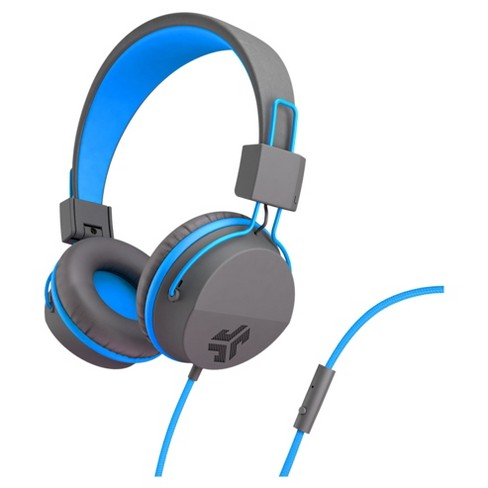 JLab Neon Wired On Ear Headphones with Universal Mic - Gray/Blue - image 1 of 4