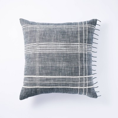 Square Woven Plaid Pillow Blue - Threshold™ designed with Studio McGee