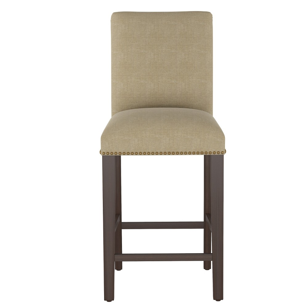 Shelly Nail Button Bar Stool Natural Linen with Brass Nail Buttons - Cloth & Co.