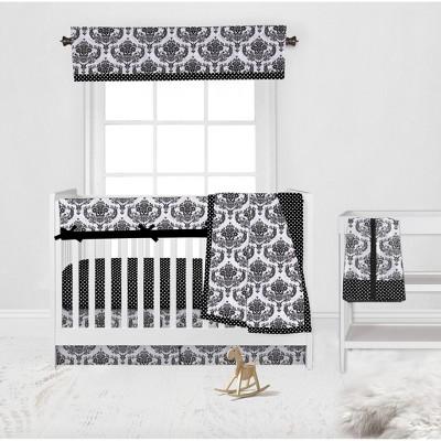 Bacati - Classic Damask Black/Grey/White 6 pc Crib Bedding Set with Long Rail Guard Cover