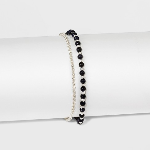 """Women's Silver Plated Blue Goldstone Bead with Pave Disk Bracelet - Silver (8"""") - image 1 of 1"""