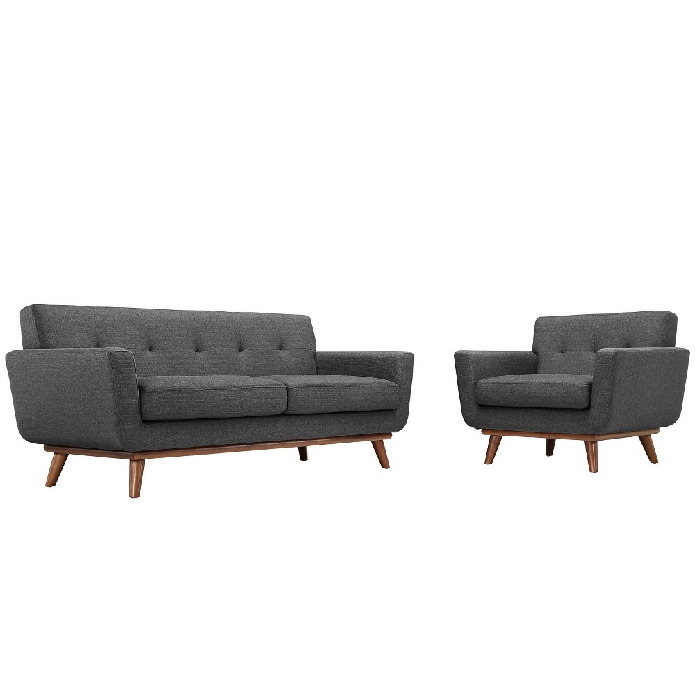 Engage Armchair and Loveseat Set of 2 Gray - Modway
