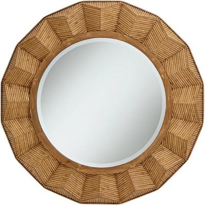 Noble Park Preston Dark Rattan 36 Round Angled Framed Wall Mirror Target