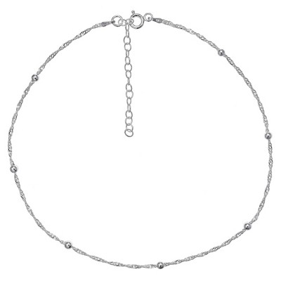 """Women's Diamond Cut Singapore Extender Station Necklace with Ball Stations in Sterling Silver - Silver (12"""" + 4"""")"""