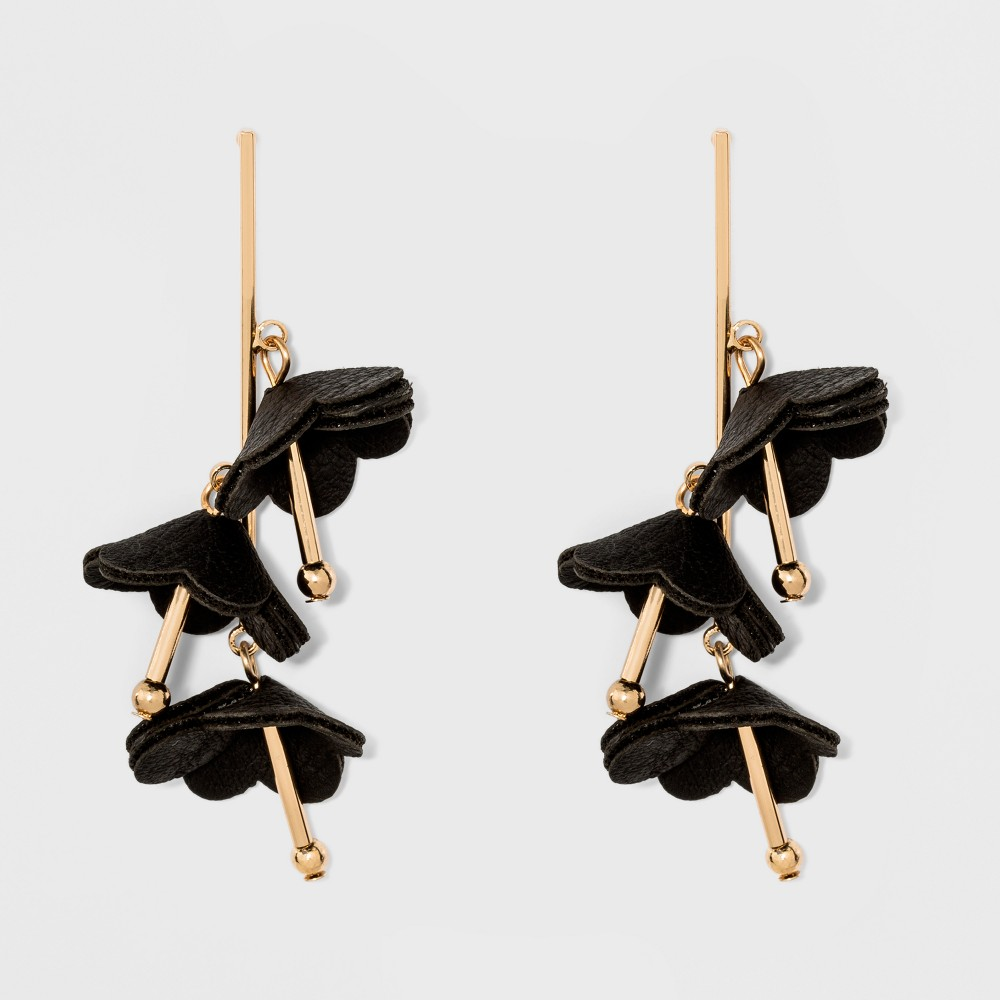 Linear Drop with Scattered Deconstructed Flowers Earrings - A New Day Black