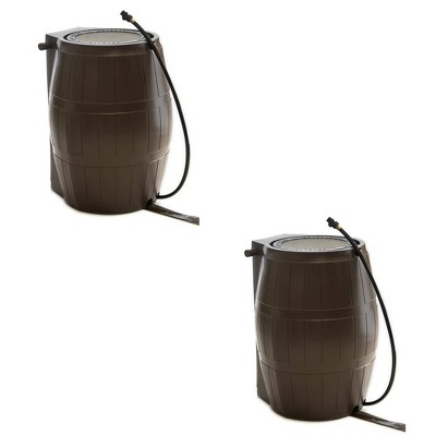 FCMP Outdoor RC4000-BRN 45-Gal BPA Free Home Rain Water Catcher Barrel (2 Pack)