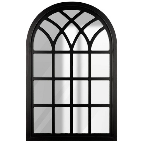 """46""""x30"""" Farmhouse Cathedral Windowpane Wall Mirror Black - Gallery Solutions - image 1 of 4"""
