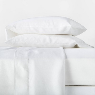 Full 100% Linen Solid Sheet Set White - Casaluna™