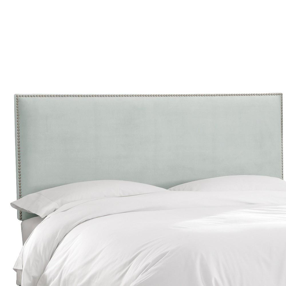 Queen Arcadia Nailbutton Headboard Velvet Pool - Skyline Furniture