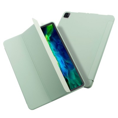 """Insten - Tablet Case for iPad Pro 12.9"""" 2020, Liquid Silicone, Frosted Back, Auto Sleep/Wake, Pencil Charging, Mint Green"""