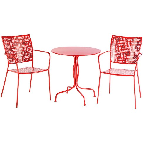 3pc Wrought Iron Martini Bistro Set with Round Table & 2 Stackable Chairs - Alfresco Home - image 1 of 4