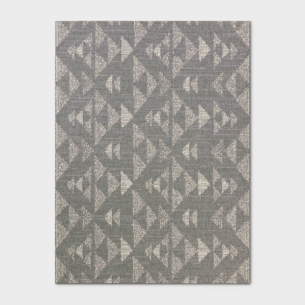 9'X12' Indoor/Outdoor Mosaic Design Woven Area Rug Gray - Project 62
