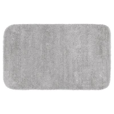 "30""x50"" Traditional Plush Washable Nylon Bath Rug Platinum Gray - Garland"