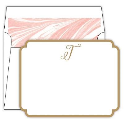 Marble Cards Die-Cut Social Set Monogram T