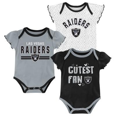 NFL Las Vegas Raiders Baby Girls' Bodysuit Set 3pk - 18M