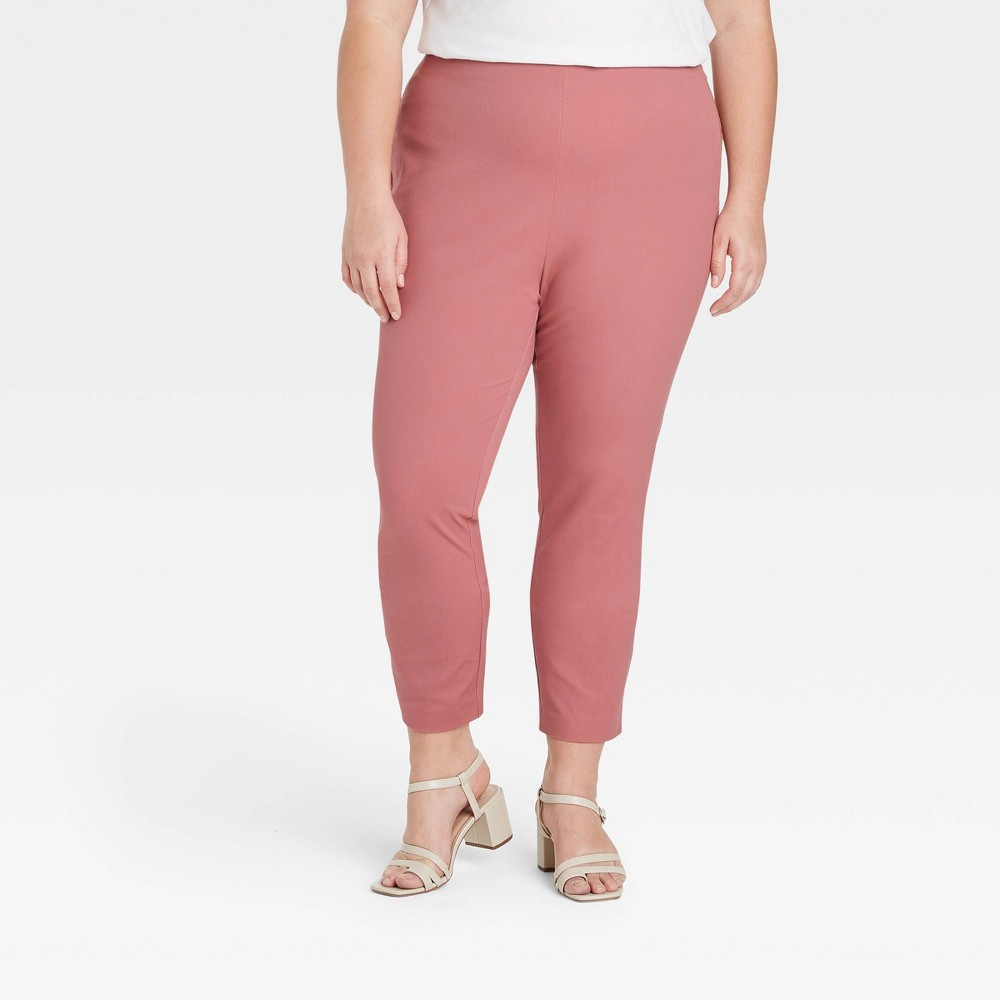 Women 39 S Plus Size High Rise Skinny Ankle Pants A New Day 8482 Dark Pink 26w