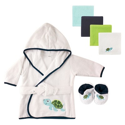 Luvable Friends Baby Hooded Bath Robe Set - Turtle