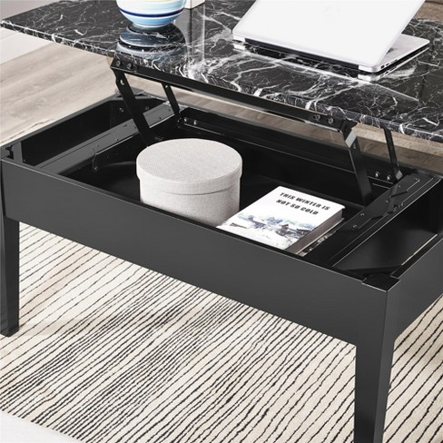 Faux Marble Lift Top Coffee Table Black Dorel Living