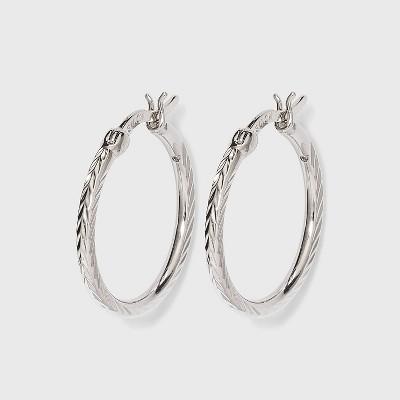 Diamond Cut Medium Hoop Earring - Silver