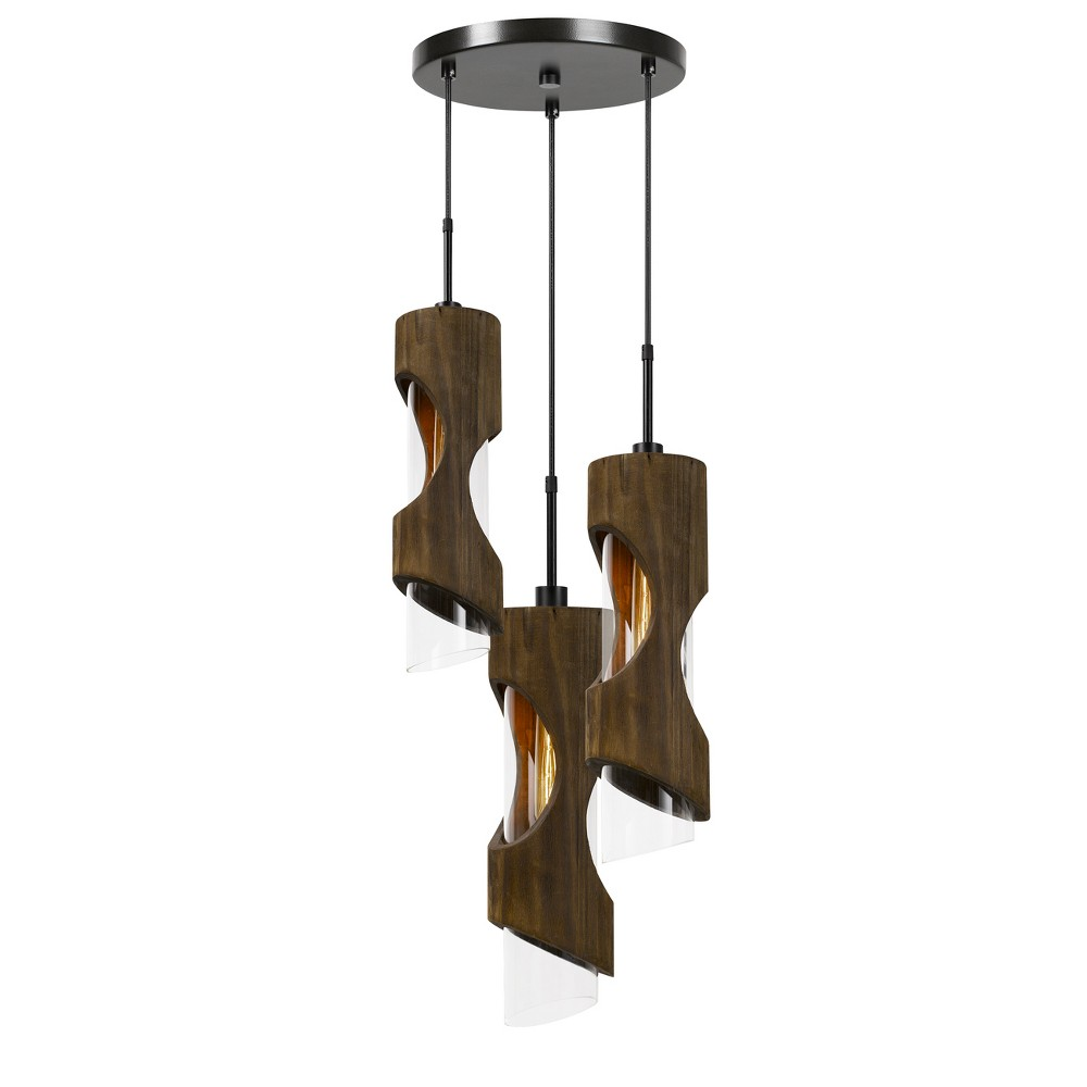 Zamora 3 Light Wood Pendant With Clear Glass Shade Gray 4.75