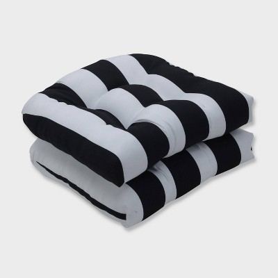 2pk Cabana Stripe Wicker Outdoor Seat Cushions Black - Pillow Perfect
