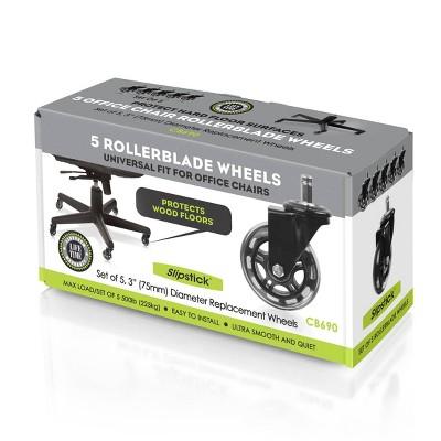 "Slipstick (Set of 5) 3"" Rollerblade Office Chair Wheels"