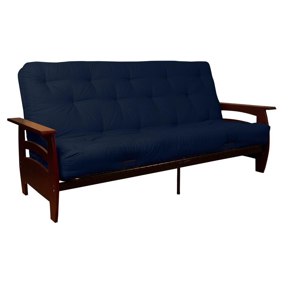 Savannah 8 Inner Spring Futon Sofa Sleeper Mahogany Wood Finish - Epic Furnishings, Blue