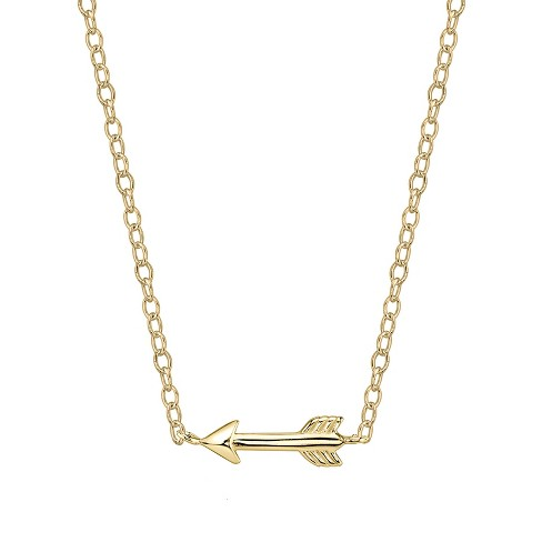 "Women's Sterling Silver Arrow Station Necklace - Gold (18"") - image 1 of 2"