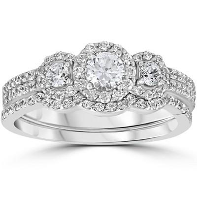 Pompeii3 1.00CT 3-Stone Diamond Engagement Wedding Ring Set 10K White Gold