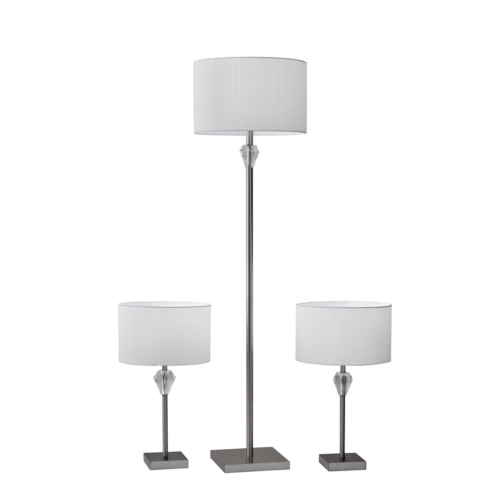 Image of Amelia Bonus Pack Lamp Set Brushed Steel - Adesso