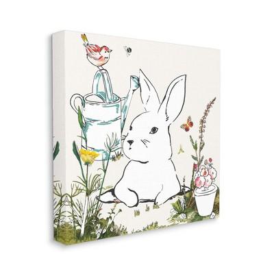 Stupell Industries Curious Bunny Rabbit Butterfly Garden Florals