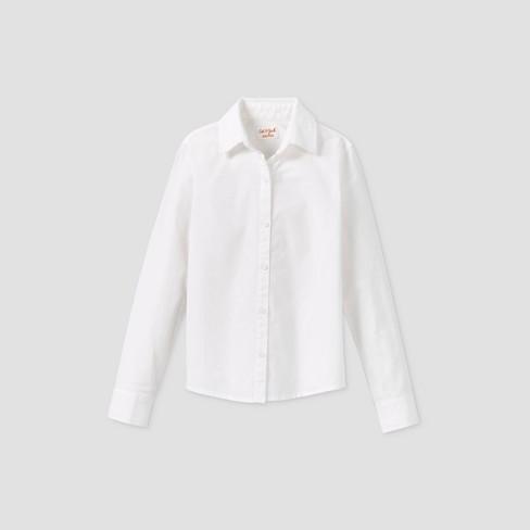 Toddler Girls' Stretch Long Sleeve Uniform Woven Blouse - Cat & Jack™ White - image 1 of 2