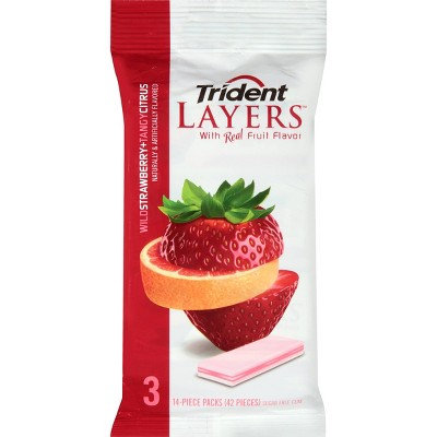 Trident Layers Wild Strawberry & Tangy Citrus Sugar Free Gum   3.6oz by 3.6oz