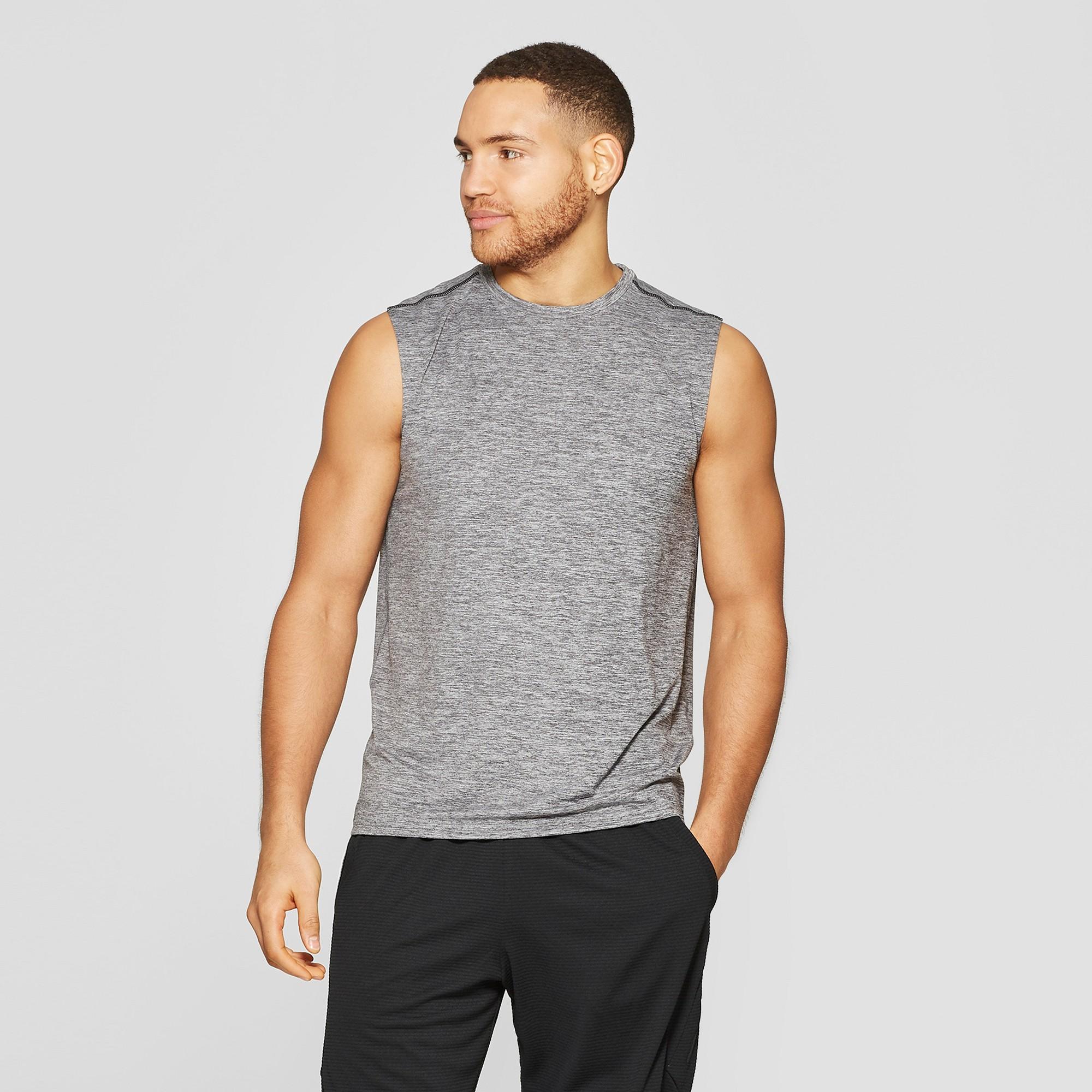 Men's Sleeveless Tech T-Shirt - C9 Champion Black Heather M, Size: Medium, Black Grey