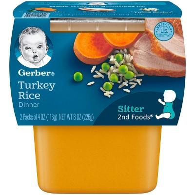 Gerber 2nd Foods, Turkey & Rice - 4oz 2pk