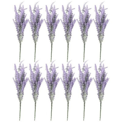 Artificial Lavender Flowers - 12 Bundles Lavender Bouquet in Purple - Fake Flowers Artifical Plant for Home Decor, Wedding, Party, Patio