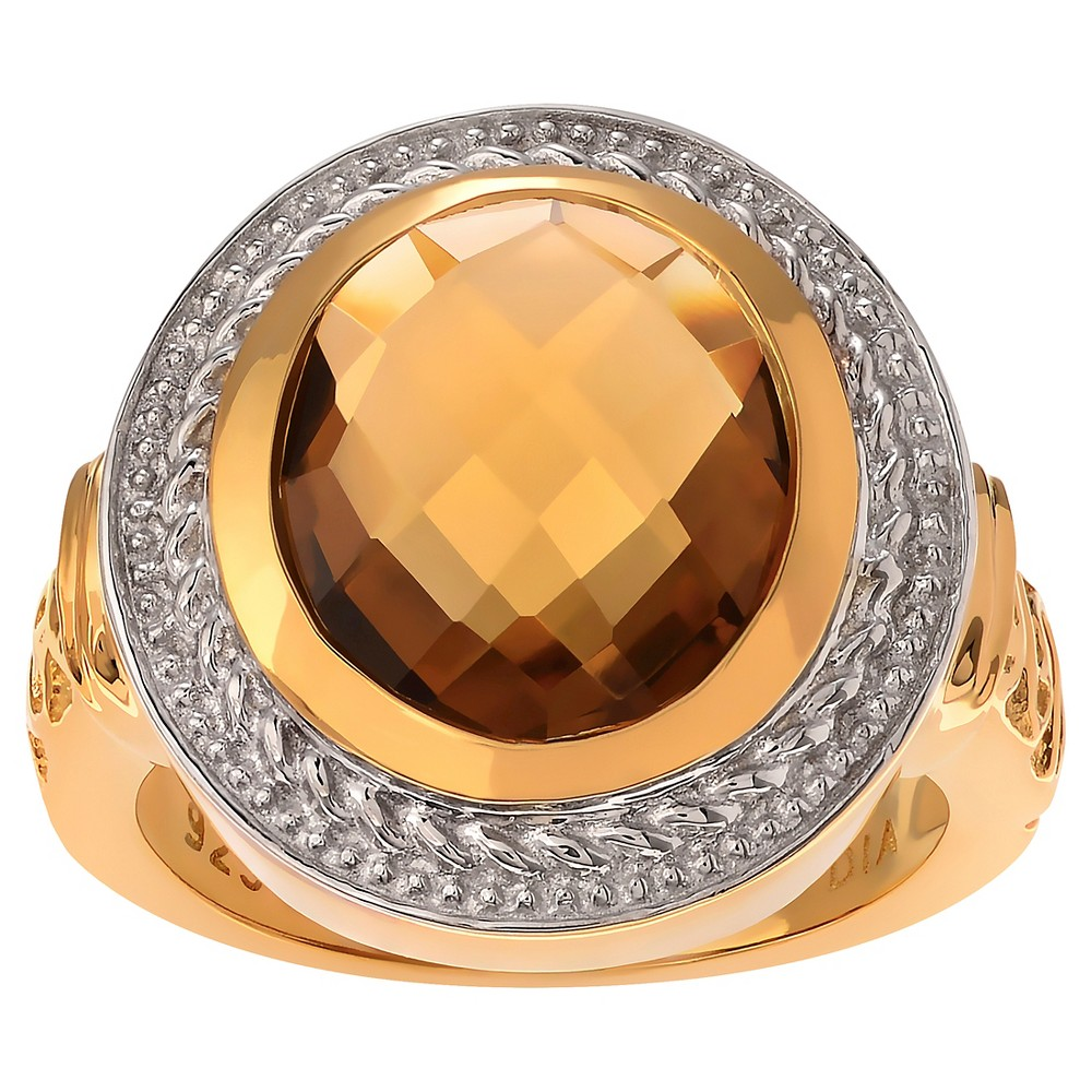 2 1/4 CT. T.W. Oval-cut Quartz Solitaire Bezel Set Ring in 14k Goldplated Sterling Silver - Champagne, 6