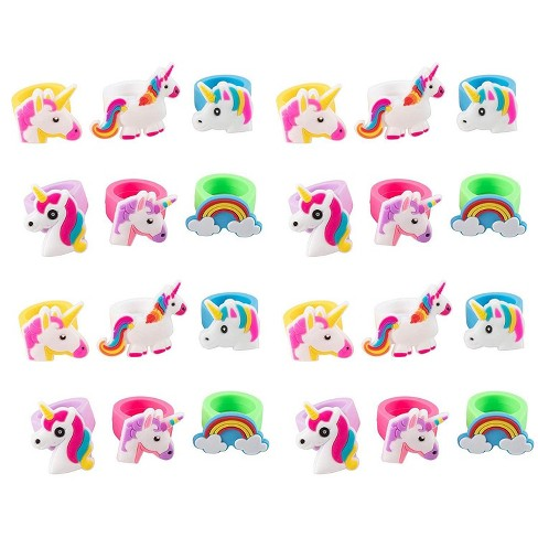 Juvale 24-Pack Rubber Rainbow Unicorn Toy Rings for Girls Birthday Party Favors Gifts - image 1 of 4