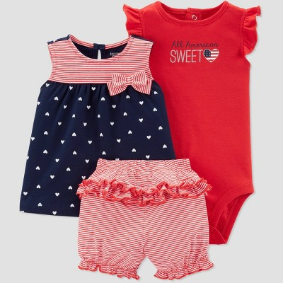 Baby Girls' 3pc  All American Sweetheart  Top and Bottom Set - Just One You® made by carter's Navy/Red 12M