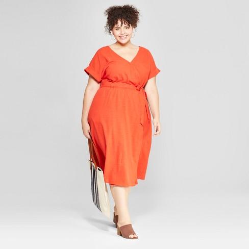 Womens Plus Size V Neck Dress Universal Thread Orange Target